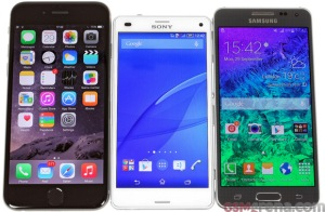 iPhone 6, Z3 Compact and the Galaxy Alpha... Three kings but only one is truly worthy (credit: GSMArena for the picture)